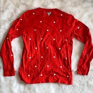 jcrew lightweight polka dot sweater
